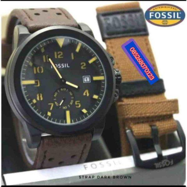 Jam Tangan Fossil Tali kulit Water Resistant